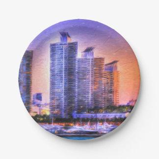 Vibrant Miami Skyline Sunrise 7 Inch Paper Plate
