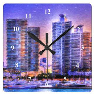 Vibrant Miami Skyline Sunrise Square Wall Clock