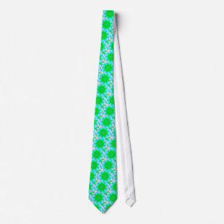 Vibrant Neon Pink Blue Green Pastel Mandela Tie