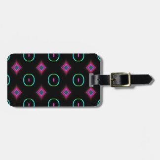 Vibrant Neon Pink Blue Teal Geometric Pattern Luggage Tag