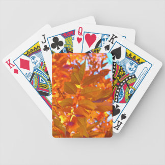 Vibrant Orange and Gold Autumn Leaves Bicycle Playing Cards