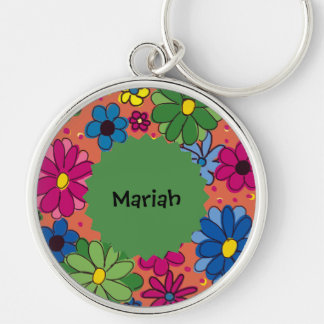 Vibrant Orange Floral Monogram Keychain
