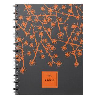 Vibrant Orange, Hand-Drawn Cherry Blossoms Spiral Notebook