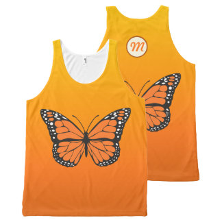 Vibrant Orange Ombre Monarch Butterfly Monogram All-Over Print Tank Top