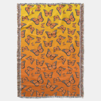 Vibrant Orange Ombre Monarch Butterfly Throw Blanket