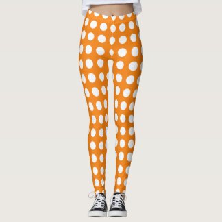 Vibrant Orange Polka Dot Leggings