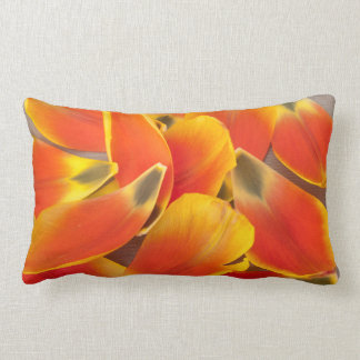 Vibrant Orange Tulip Petals Photograph Lumbar Cushion