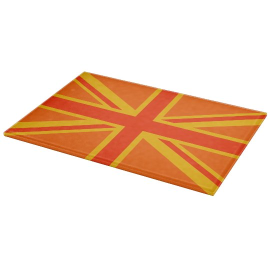 Vibrant Orange Union Jack British Flag Swag Cutting Board