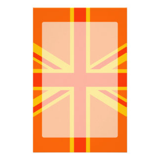 Vibrant Orange Union Jack British Flag Swag Stationery