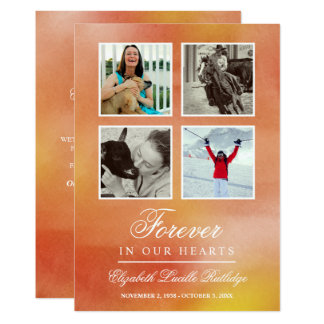 Vibrant Orange Watercolor - Forever In Our Hearts Card