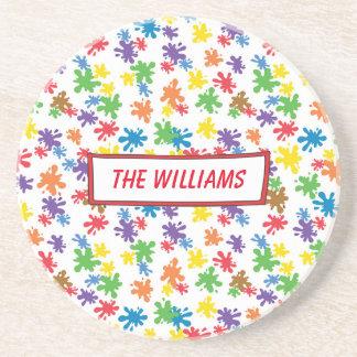Vibrant Paint Splatter Coaster