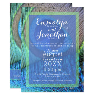 Vibrant Peacock Feather Modern Invitation