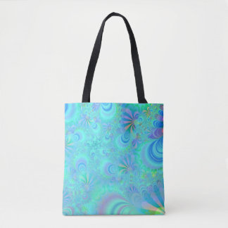 Vibrant Peacock Tail Allover Print Tote Bag