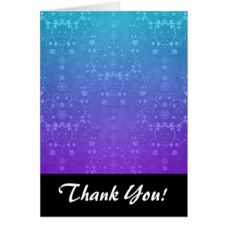 Vibrant Periwinkle to Aqua Fancy Damask Pattern Card