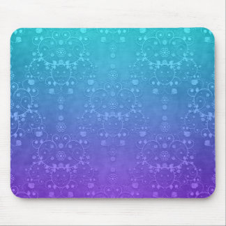 Vibrant Periwinkle to Aqua Fancy Damask Pattern Mousepad