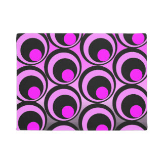 Vibrant pink and black abstract circles doormat