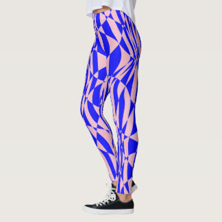 Vibrant pink and blue pattern leggings