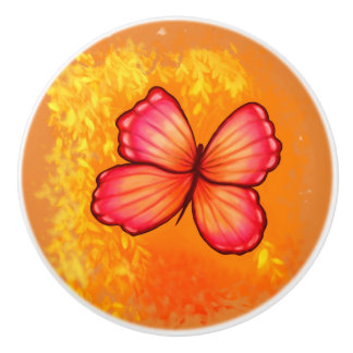 Vibrant Pink and Orange Butterfly knob