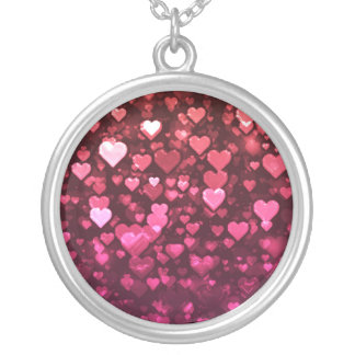 Vibrant Pink and Red Bokeh Hearts of Love Personalized Necklace