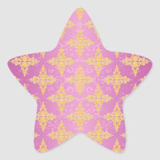 Vibrant Pink and Yellow Double Damask Star Sticker