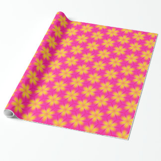 Vibrant Pink and Yellow Floral Abstract Pattern Gift Wrapping Paper