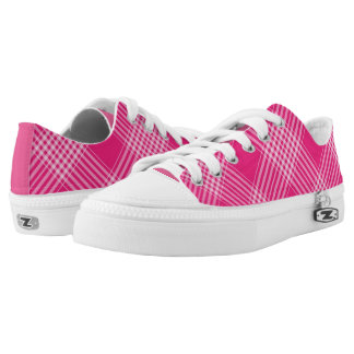 Vibrant Pink Check Pattern Low Tops