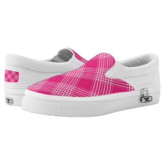 Vibrant Pink Check Pattern Slip-On Shoes