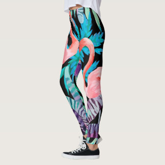 Vibrant, Pink Flamingo print leggings