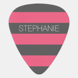 Vibrant Pink & Gray Rugby Stripes with Custom Name Guitar Pick