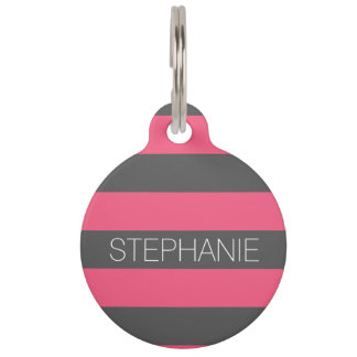 Vibrant Pink & Gray Rugby Stripes with Custom Name Pet Name Tag