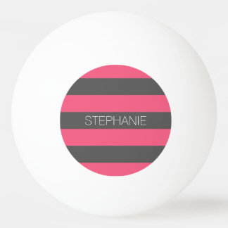 Vibrant Pink & Gray Rugby Stripes with Custom Name Ping Pong Ball
