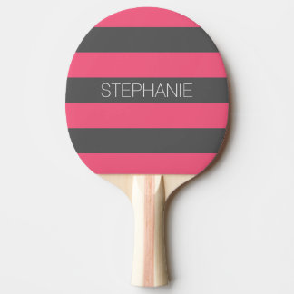 Vibrant Pink & Gray Rugby Stripes with Custom Name Ping Pong Paddle