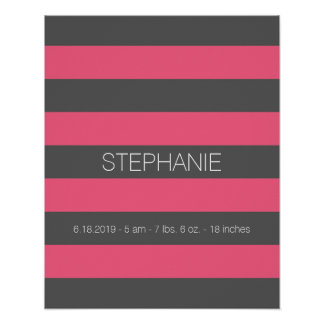 Vibrant Pink & Grey Rugby Stripes with Custom Name Poster