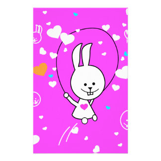 Vibrant Pink Happy Jump Roping Bunny Stationery Design