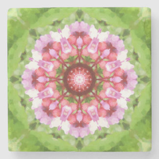 Vibrant Pink, Lilac and Green Kaleidoscope Stone Coaster