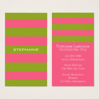 Jersey business cards business card printing zazzle uk vibrant pink amp lime rugby stripes with custom name business card reheart Image collections