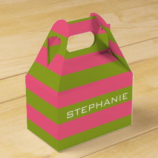 Vibrant Pink & Lime Rugby Stripes with Custom Name Favour Box