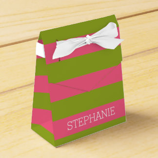 Vibrant Pink & Lime Rugby Stripes with Custom Name Wedding Favour Boxes