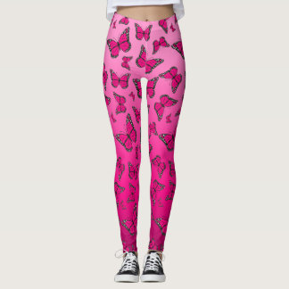 Vibrant Pink Ombre Butterfly Leggings