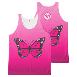 Vibrant Pink Ombre Butterfly Monogram All-Over Print Tank Top