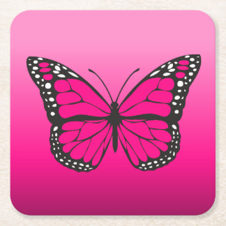 Vibrant Pink Ombre Butterfly Square Paper Coaster