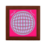 Vibrant Pink/Soft Turquoise X Pattern Globe Design Small Square Gift Box