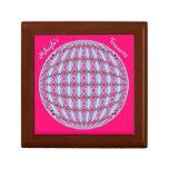 Vibrant Pink/Soft Turquoise X Pattern Globe Design Small Square Gift Box