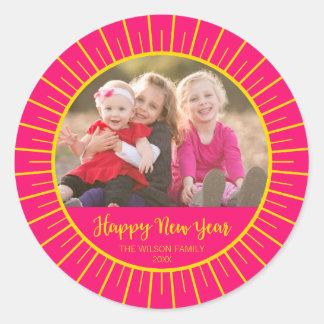 Vibrant Pink Starburst Happy New Year Photo Classic Round Sticker