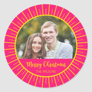 Vibrant Pink Starburst Merry Christmas Photo Classic Round Sticker