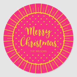 Vibrant Pink Starburst Script Merry Christmas Classic Round Sticker