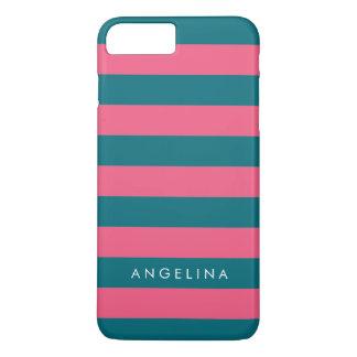 Vibrant Pink Striped Pattern Custom Name iPhone 8 Plus/7 Plus Case