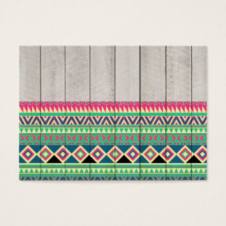 Vibrant Pink Turquoise Aztec Pattern Gray Wood Business Card