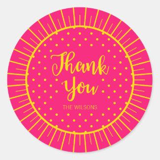 Vibrant Pink Yellow Starburst Script Thank You Classic Round Sticker