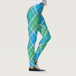 Vibrant plaid pattern leggings